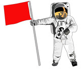 astronaut standing with red flag poster