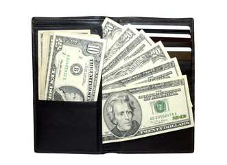 leather wallet full of dollar bills