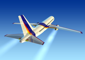 airplane 3d right rear view