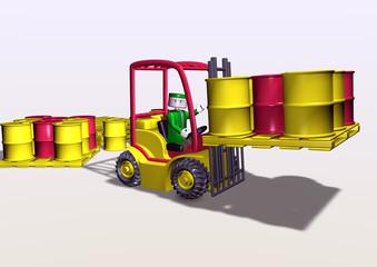 3d toy-like fork-lift loading toxic barrels