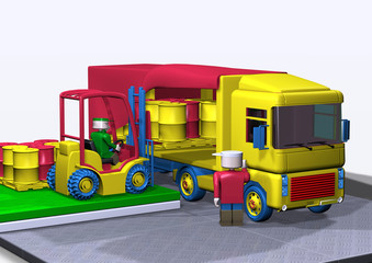 toy-like workers loading truck with fork-lift