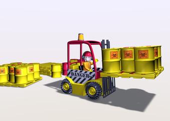 fork-lift loading toxic barrels
