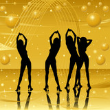 women silhouettes on golden stage poster