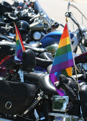 rainbow pride flag with motorcycles