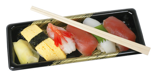 sushi tray and chopsticks-clipping path