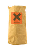brown paper bag with harmful sign poster