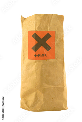 brown paper bag with harmful sign