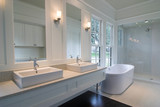 white bathroom with double sinks poster