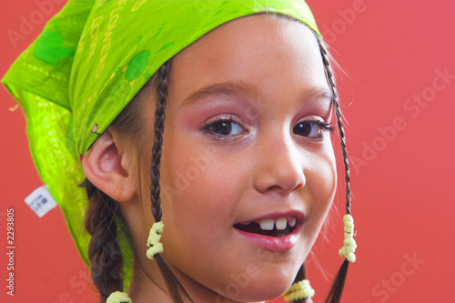 girl with a green kerchief