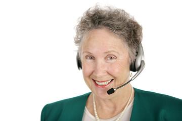 cheerful telephone operator
