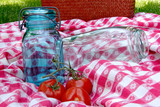 vintage canning jars on antique table cloth poster