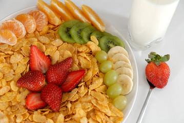 fruit salad with milk