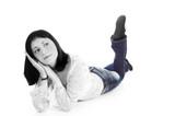 girl wearing denim poster
