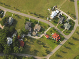 aerial view of neighborhood poster