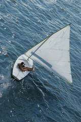 sailboat, overhead view