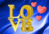 love as gold 3d text with pink heart on blue