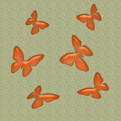 orange butterflies on textured background