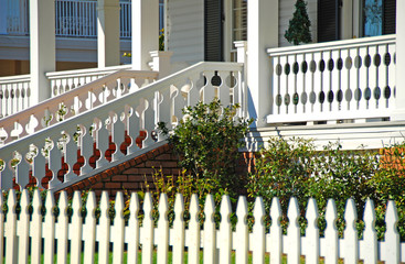 picket fence at front porch