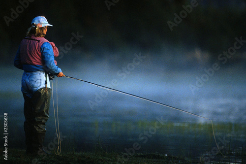 Plexiglas Vissen fly fishing woman 01