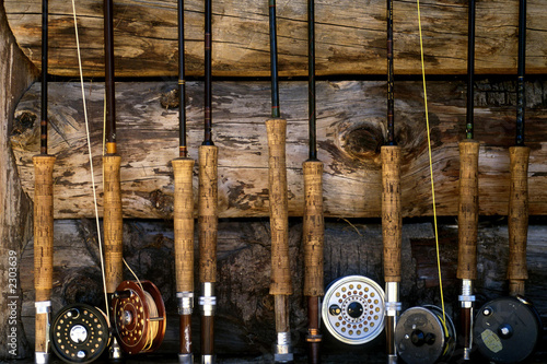 Tuinposter Vissen fly fishing poles 001