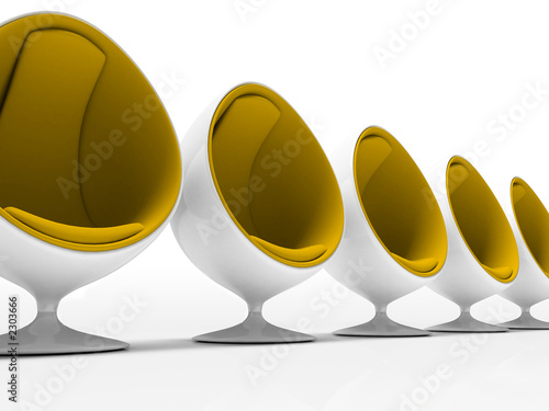 five yellow chairs isolated on white background