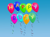 happy b-day greetings balloons poster
