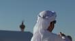 arabic man and mosq crescent