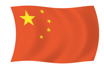 china - floating chinese flag