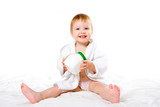 beauty baby inbathrobe with plastic jar poster
