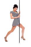 beauty brunette girl dancing strip-tease poster