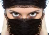 arabian woman close-ups green eye look poster