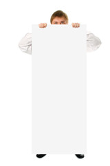 businessman hold in hand big white poster