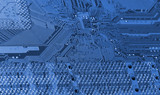 circuitboard with microchips in blue poster