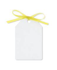 gift tag tied with yellow ribbon with clipping path