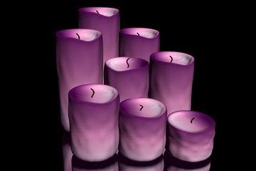 3d illustration of candles on a black background