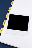 yellow file divider and photo poster