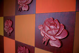 quadrate mit rosen blüten poster