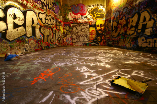 canvas print picture graffiti wide angle with paint roller