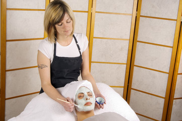 spa skincare facial application