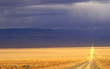 lonely desert road in  nevada
