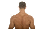 back of a muscular body builder poster