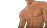 athletic man with sixpack abs poster