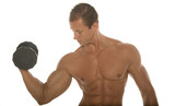 body builder working out with dumbbell poster