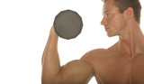 male body builder lifting dumbbell poster