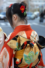 young woman in japanese kimono