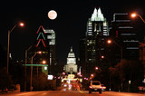 state capitol building at night in downtown austin, texas poster