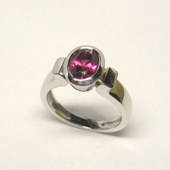 bague or blanc pierre rose