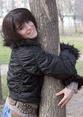 young beautiful woman in park