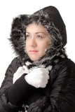 young attractive woman feeling cold poster