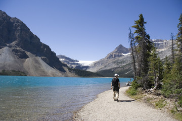 hiker on bow lake
